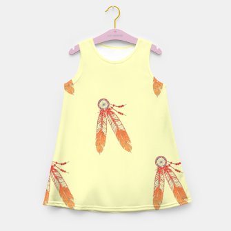 Thumbnail image of Red and orange feathers Girl's summer dress, Live Heroes