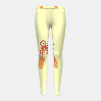 Thumbnail image of Red and orange feathers Girl's leggings, Live Heroes