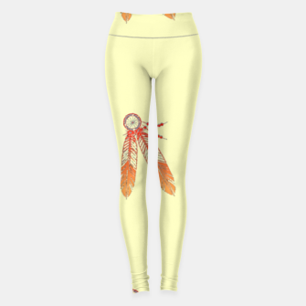 Thumbnail image of Red and orange feathers Leggings, Live Heroes