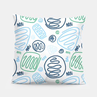 Thumbnail image of Blue One Line Shapes Pillow, Live Heroes