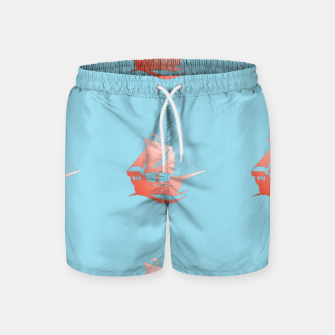 Miniatur Red ships on blue Swim Shorts, Live Heroes