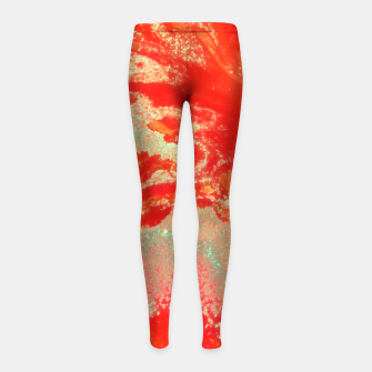 Thumbnail image of Sea Green and Coral Girl's leggings, Live Heroes