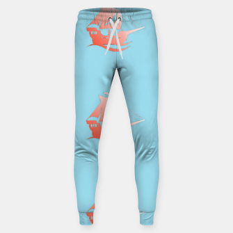 Miniatur Red ships on blue Sweatpants, Live Heroes