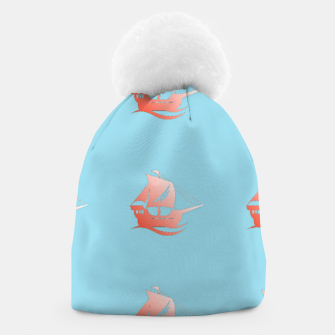 Miniatur Red ships on blue Beanie, Live Heroes