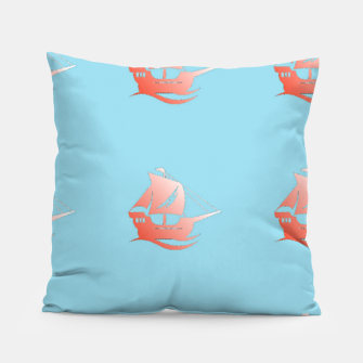 Miniatur Red ships on blue Pillow, Live Heroes