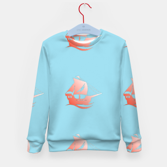 Miniatur Red ships on blue Kid's sweater, Live Heroes
