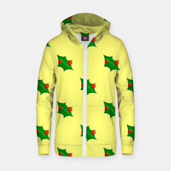 Thumbnail image of Christmas holly Zip up hoodie, Live Heroes