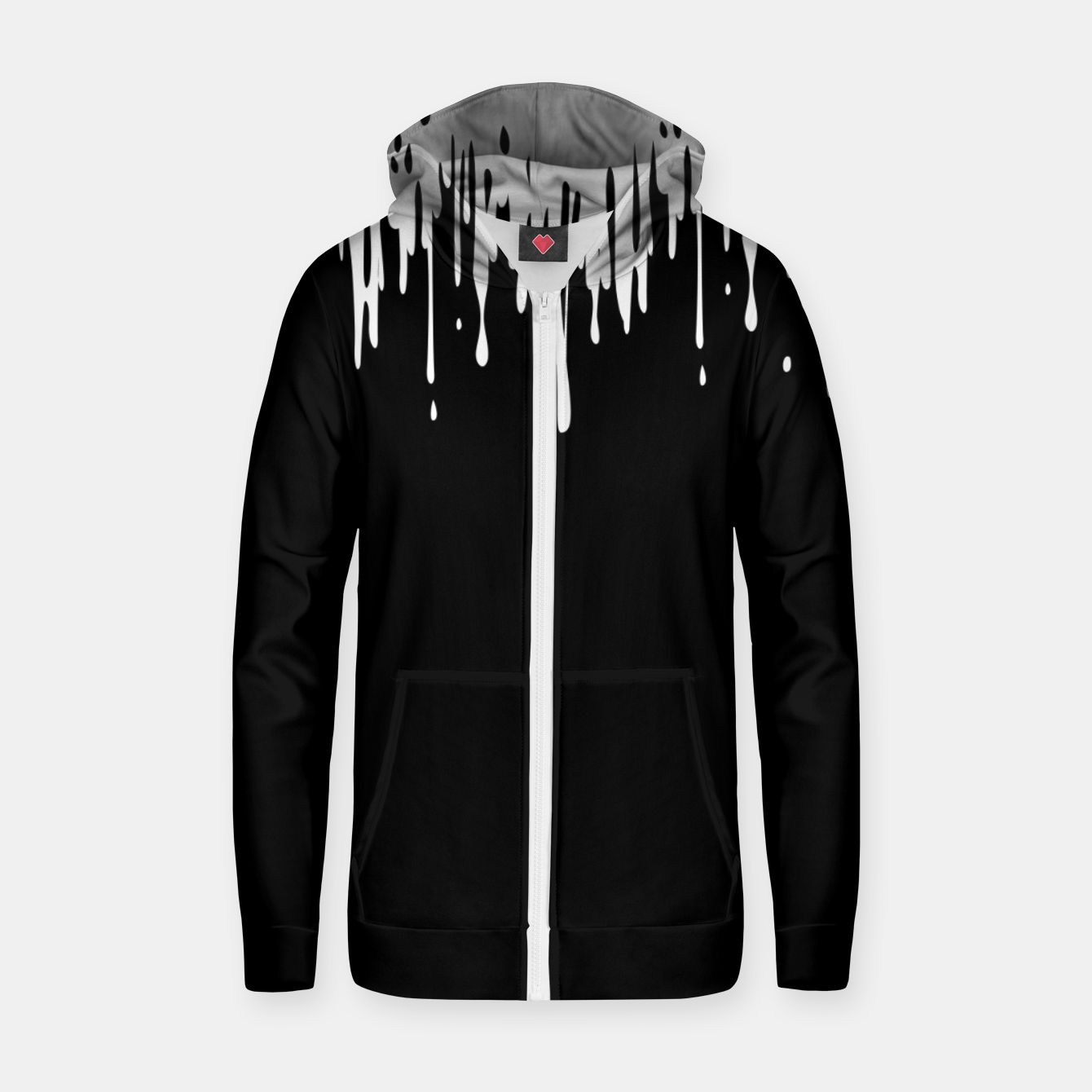 Image of White paint Sudadera con capucha y cremallera  - Live Heroes