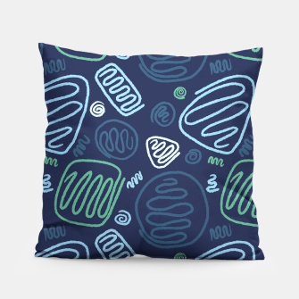 Thumbnail image of Blue One Line shape Pattern Pillow, Live Heroes