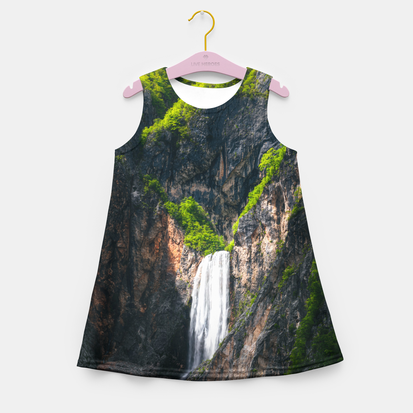 Image of Majestic waterfall Boka in spring glory Girl's summer dress - Live Heroes