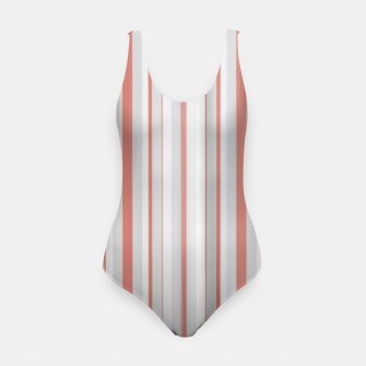Thumbnail image of Salmon and Grey Linear Design Swimsuit, Live Heroes