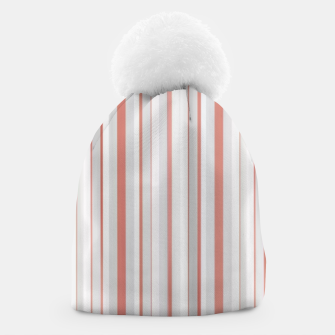 Thumbnail image of Salmon and Grey Linear Design Beanie, Live Heroes