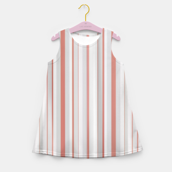 Thumbnail image of Salmon and Grey Linear Design Girl's summer dress, Live Heroes