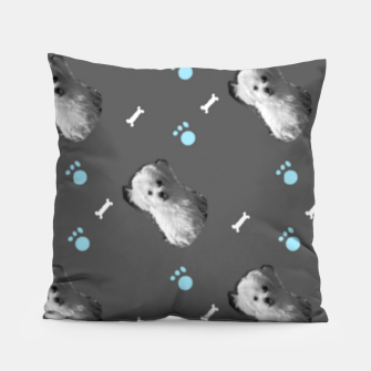 Thumbnail image of Dog gray pattern Pillow, Live Heroes