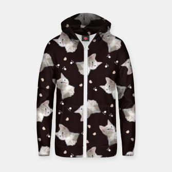 Miniatur Cats and paws Zip up hoodie, Live Heroes