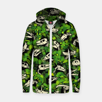 Thumbnail image of Paleontology Dinosaur Lover Fossil Dino Skull Jungle Pattern Zip up hoodie, Live Heroes