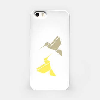 Origami hummingbirds, animal print, birds print, spring print, love is in the air iPhone Case thumbnail image