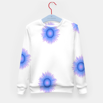 Thumbnail image of Blue flowers on white Kid's sweater, Live Heroes