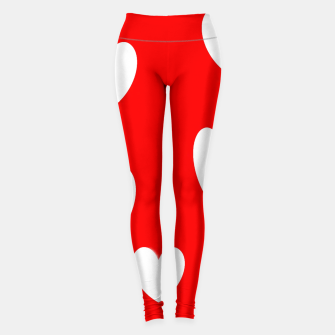 Miniatur White hearts on red Leggings, Live Heroes