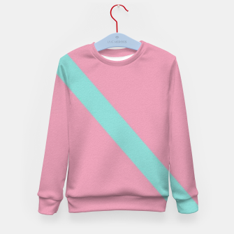Thumbnail image of Blue stripe on pink Kid's sweater, Live Heroes