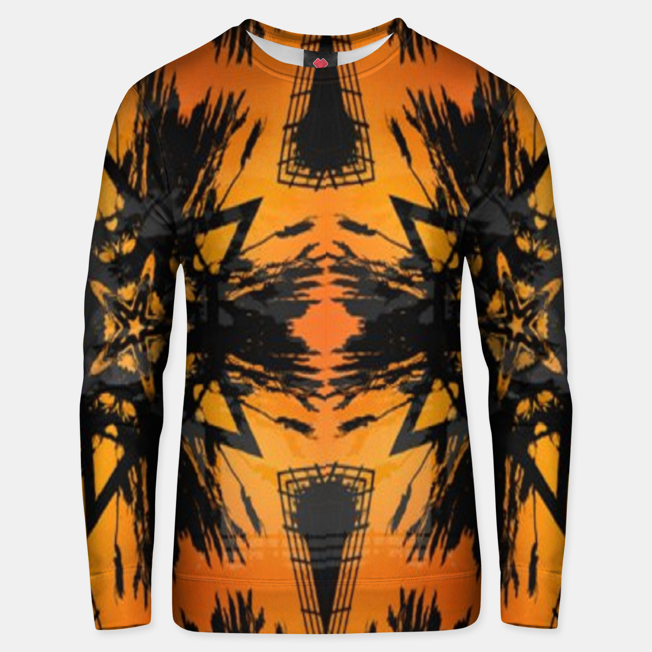 Image of Abstract orange and black print Unisex sweater - Live Heroes
