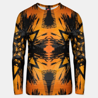 Thumbnail image of Abstract orange and black print Unisex sweater, Live Heroes
