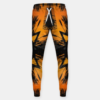 Thumbnail image of Abstract orange and black print Sweatpants, Live Heroes