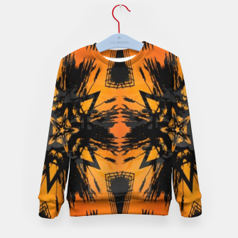 Thumbnail image of Abstract orange and black print Kid's sweater, Live Heroes