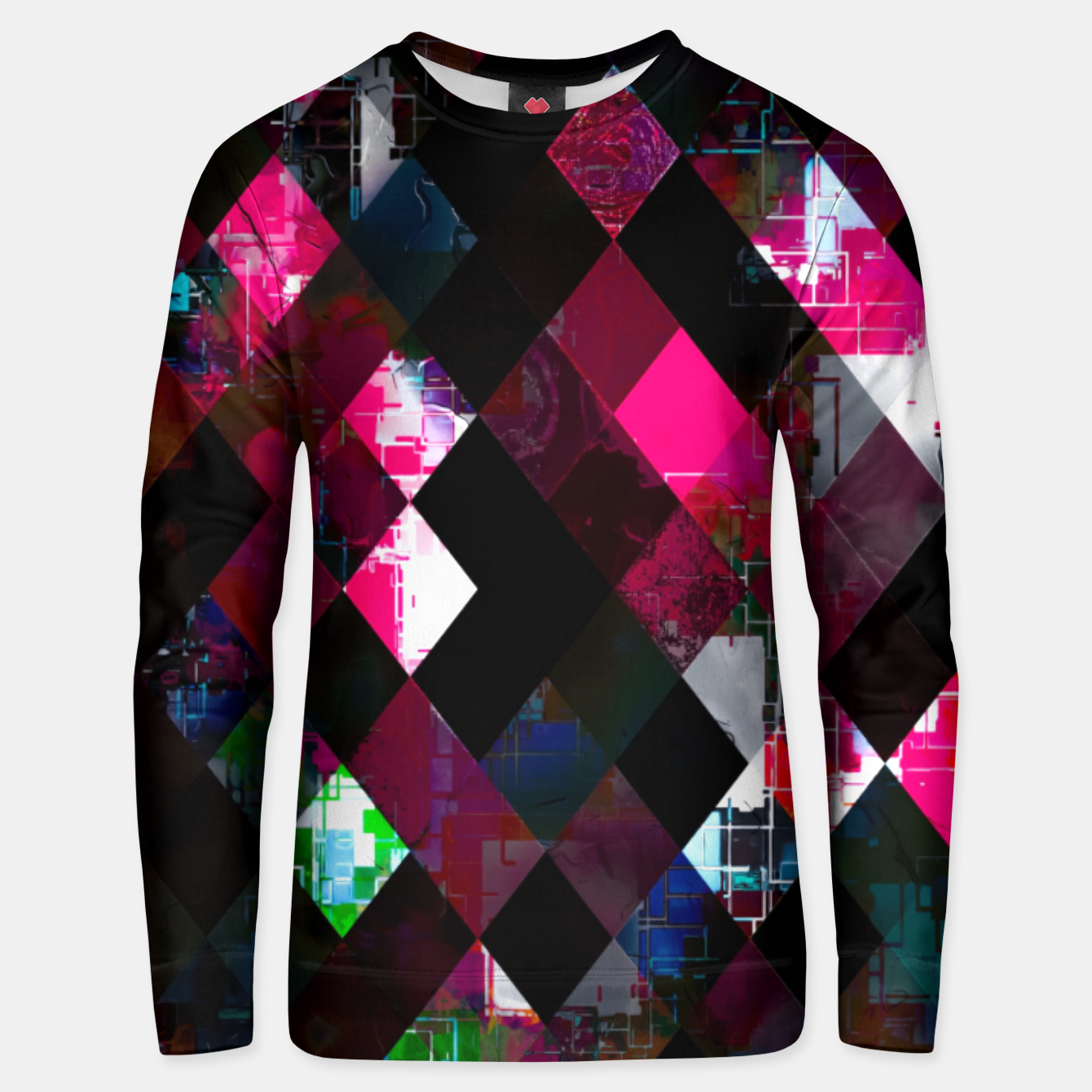 Image of pink geometric pixel square pattern abstract art background Unisex sweater - Live Heroes