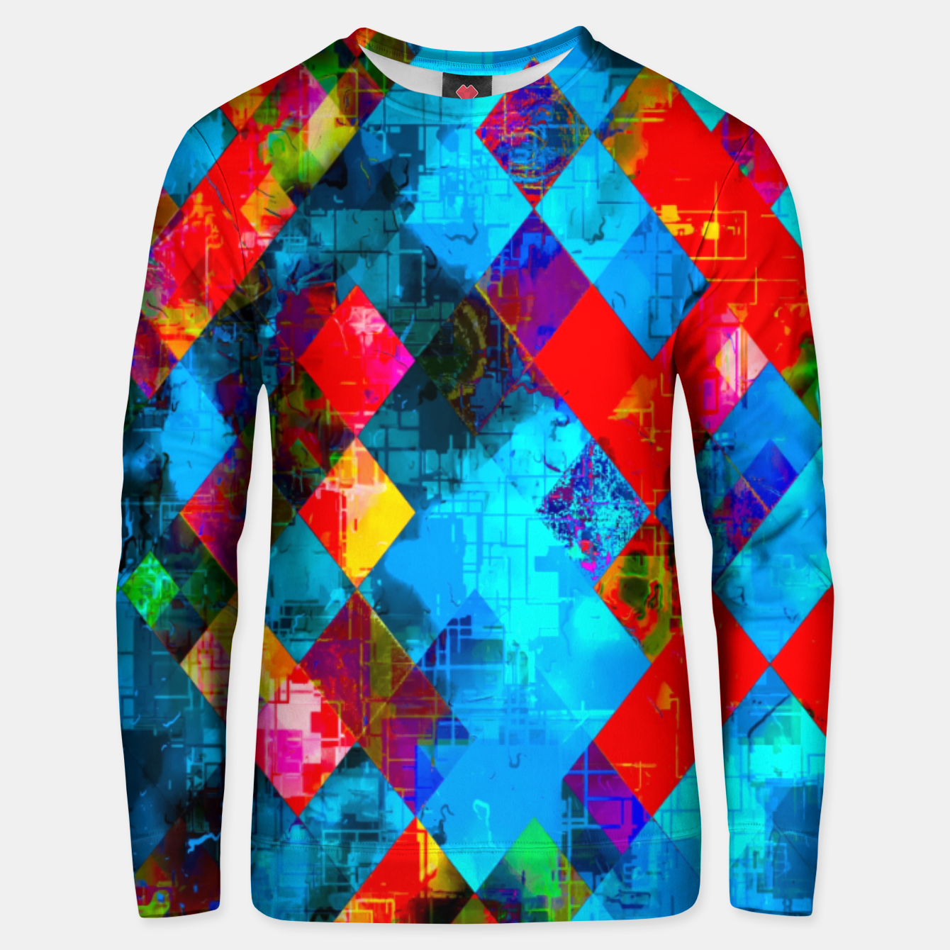 Image of colorful geometric pixel square pattern abstract background in blue red pink Unisex sweater - Live Heroes