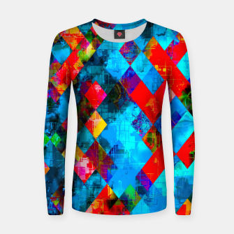 colorful geometric pixel square pattern abstract background in blue red pink Women sweater thumbnail image
