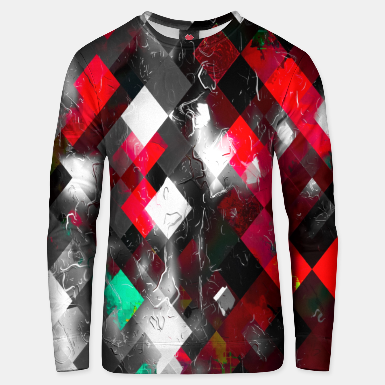 Image of red geometric pixel square pattern abstract art background Unisex sweater - Live Heroes