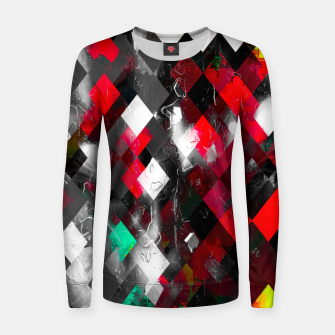 red geometric pixel square pattern abstract art background Women sweater thumbnail image