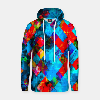 colorful geometric pixel square pattern abstract background in blue red pink Hoodie thumbnail image