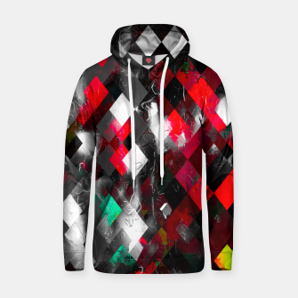 red geometric pixel square pattern abstract art background Hoodie thumbnail image