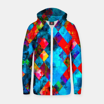 Thumbnail image of colorful geometric pixel square pattern abstract background in blue red pink Zip up hoodie, Live Heroes