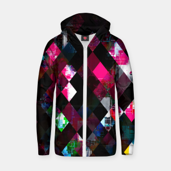 Thumbnail image of pink geometric pixel square pattern abstract art background Zip up hoodie, Live Heroes