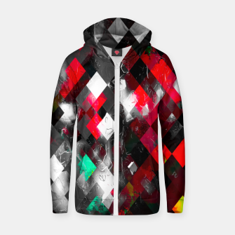 Thumbnail image of red geometric pixel square pattern abstract art background Zip up hoodie, Live Heroes
