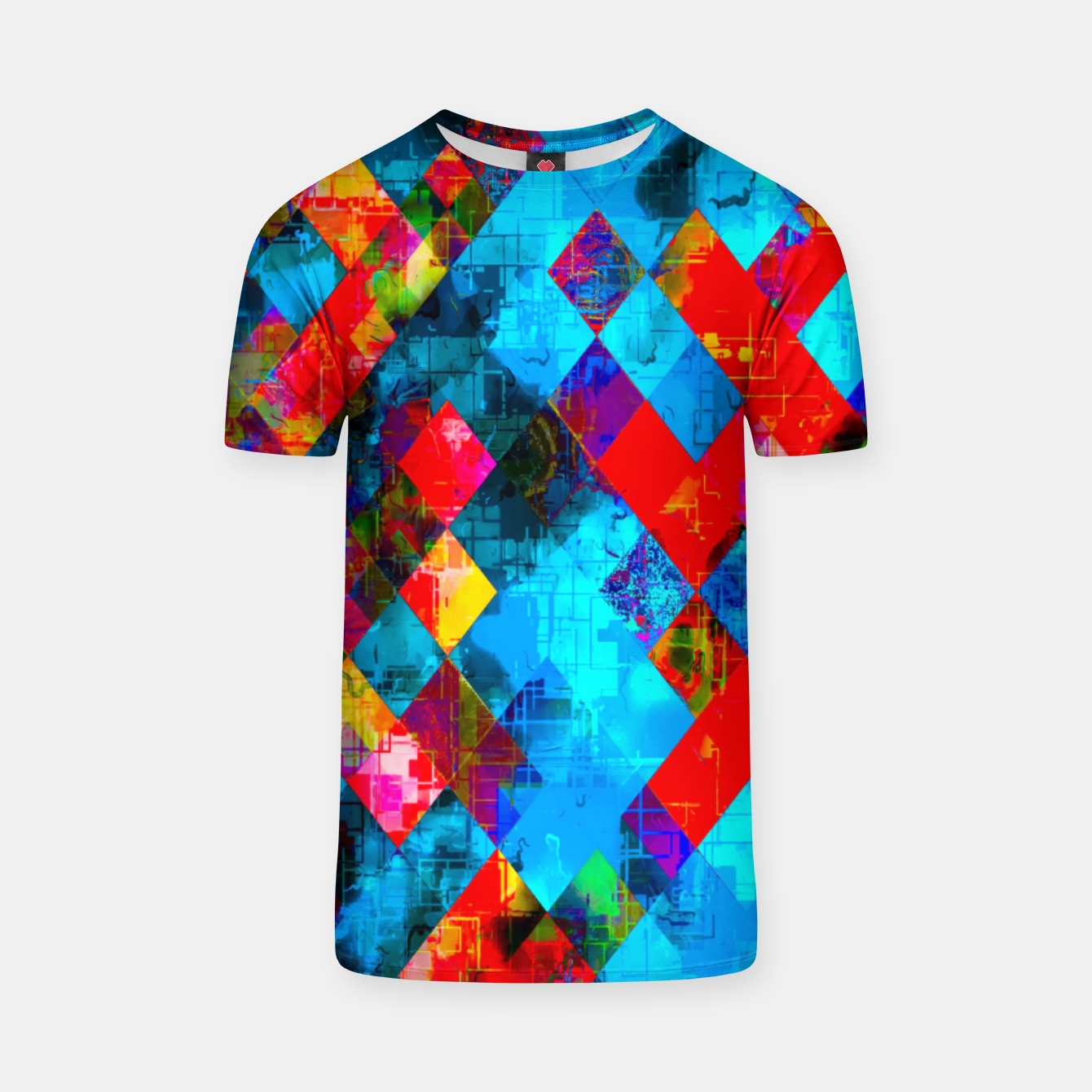 Image of colorful geometric pixel square pattern abstract background in blue red pink T-shirt - Live Heroes