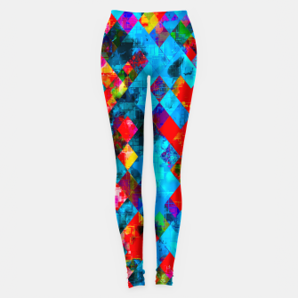 Thumbnail image of colorful geometric pixel square pattern abstract background in blue red pink Leggings, Live Heroes