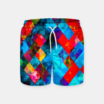 Thumbnail image of colorful geometric pixel square pattern abstract background in blue red pink Swim Shorts, Live Heroes