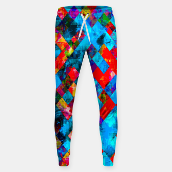 Thumbnail image of colorful geometric pixel square pattern abstract background in blue red pink Sweatpants, Live Heroes