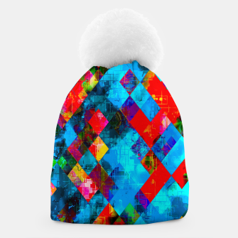 Thumbnail image of colorful geometric pixel square pattern abstract background in blue red pink Beanie, Live Heroes