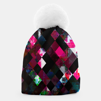 Thumbnail image of pink geometric pixel square pattern abstract art background Beanie, Live Heroes