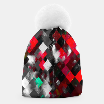 Thumbnail image of red geometric pixel square pattern abstract art background Beanie, Live Heroes