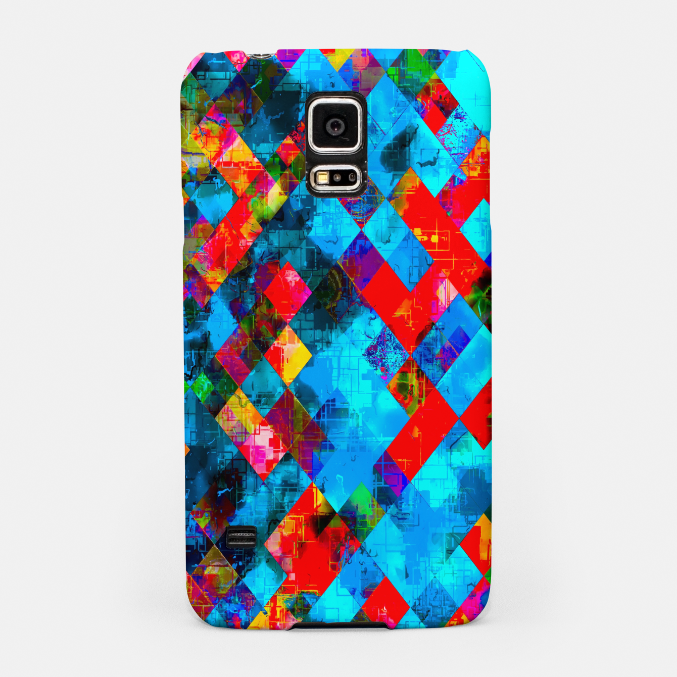 Image of colorful geometric pixel square pattern abstract background in blue red pink Samsung Case - Live Heroes