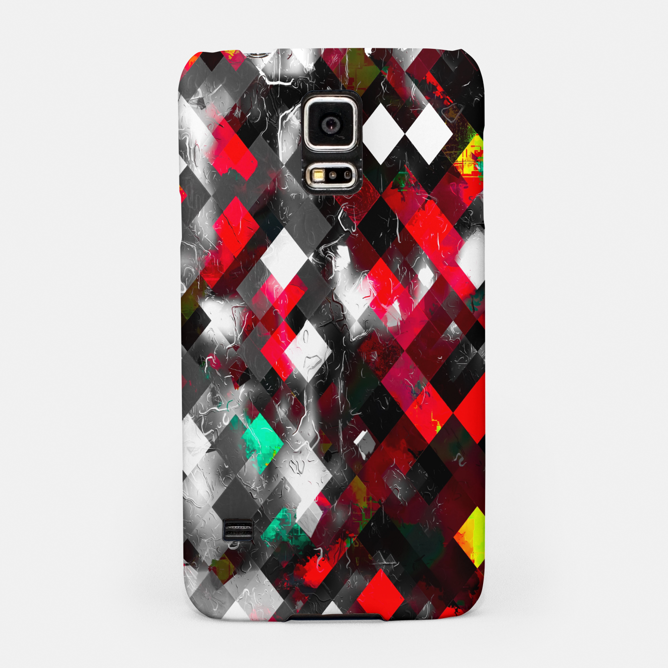 Image of red geometric pixel square pattern abstract art background Samsung Case - Live Heroes