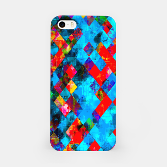 Thumbnail image of colorful geometric pixel square pattern abstract background in blue red pink iPhone Case, Live Heroes