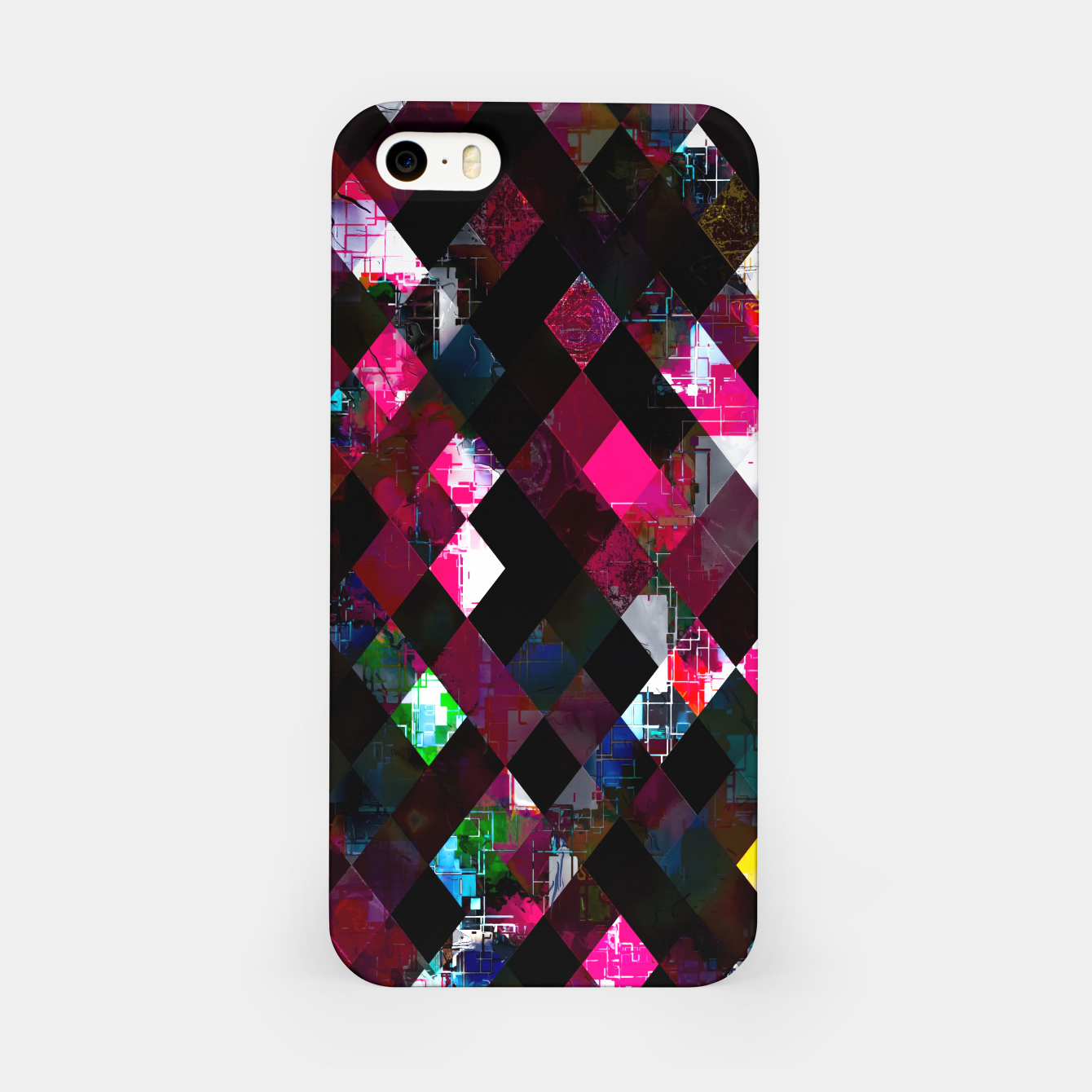Image of pink geometric pixel square pattern abstract art background iPhone Case - Live Heroes