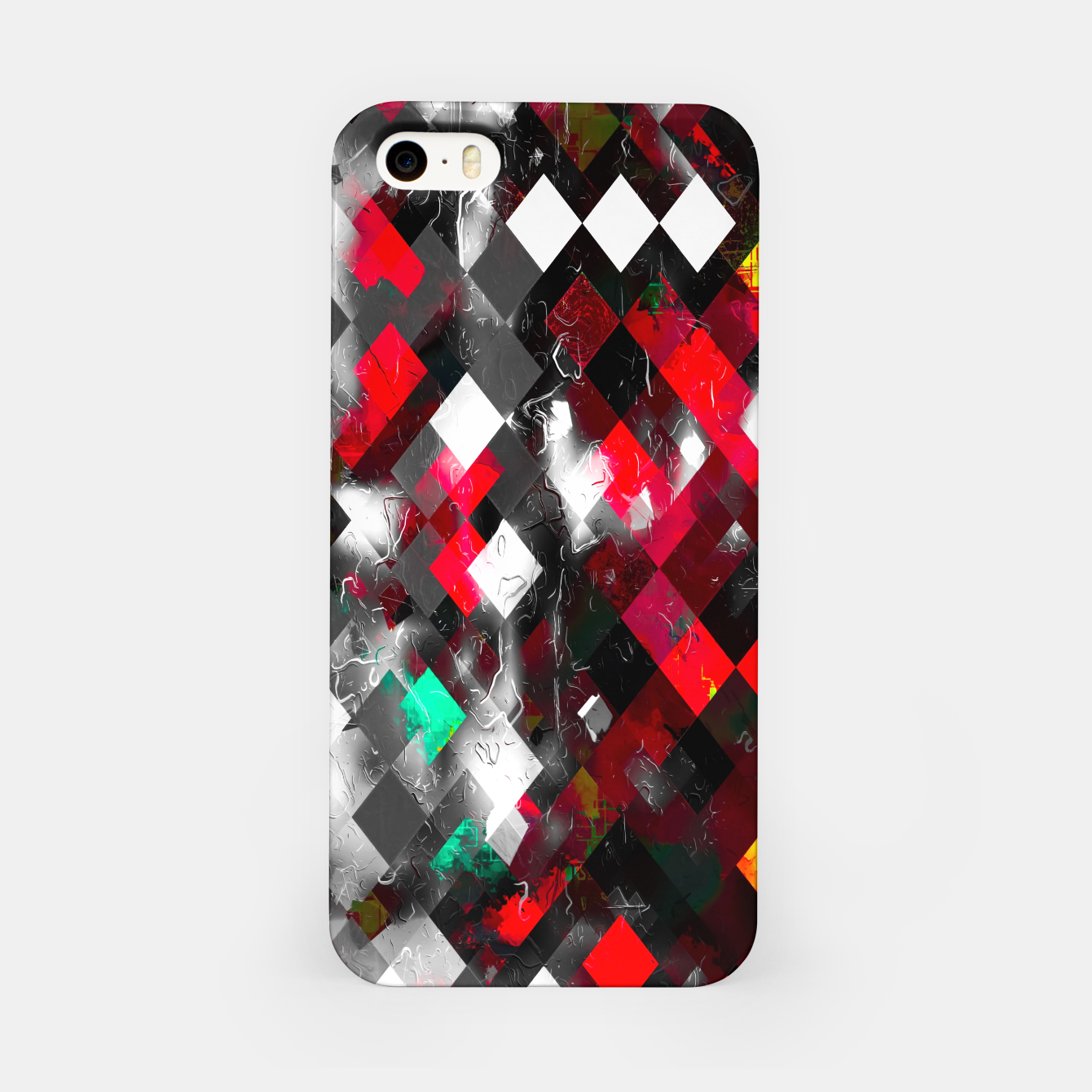 Image of red geometric pixel square pattern abstract art background iPhone Case - Live Heroes